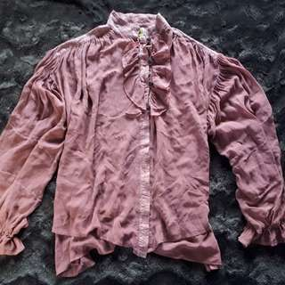 Dusty Rose Hand Dyed Billowy Blouse by URU - Kristine St. Arik (OS)