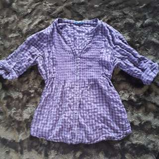 Purple Plaid Button-up Blouse (L)