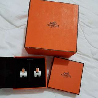 Hermes orange studs