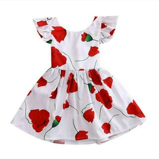 Open Back premium Flowery Dress