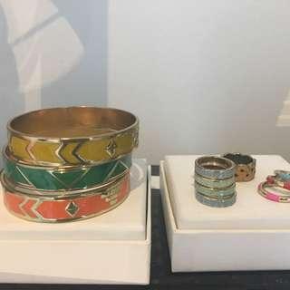 Bracelets and rings set, fashion jewellery