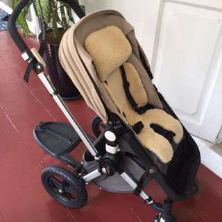 Bugaboo Cameleon with washable genuine sheepskin seat lining and buggy board