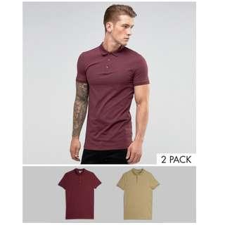 全新 英國 ASOS 酒紅色 美軍沙漠色 Polo衫 長版 修身型 肌肉 健美 Muscle Fit