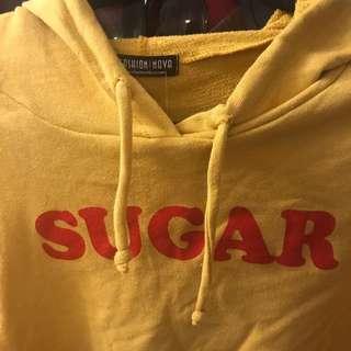 """Mustard yellow crop hoodie fashion Nova """"sugar"""""""
