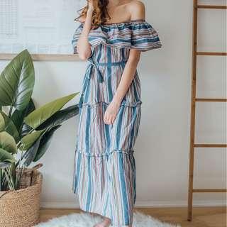ASOS - Blue orange Green Stripe Dress ✧ Tara Milk Tea