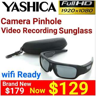[Brand New] YASHICA(Japan)  CAMERA SUNGLASS with HD(1080p) VIDEO RECORDING + WIFI.  Usual Price: $179  Special Offer: $129+ Free Mail Postage( Brand New & Sealed)Whatspp 85992490 to collect today