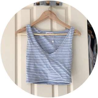 Blue stripe Crop Top