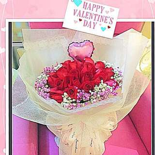 Valentine's Fresh Roses Bouquet - Order Starts  NOW!