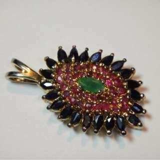 large pendant with real genuine gemstones ruby blue sapphires emerald estate