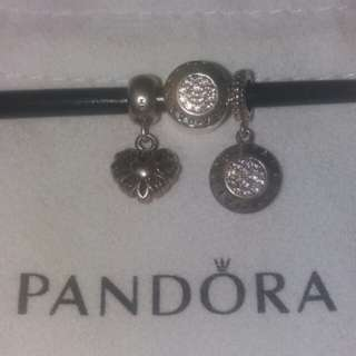Pandora s92.5 silver pendant and charms