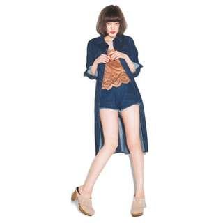 (🇯🇵私物出清)日系日牌Emoda牛仔長款口袋裝飾長袖牛仔薄洋裝外套風衣兩穿式 全新三件含運