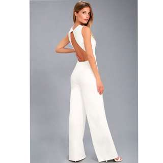 REFINE AND POISE WHITE BACKLESS WIDE-LEG JUMPSUIT (US$60)