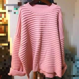 正韓 粉紅淡粉橘色 抗跳 條紋 圓領 毛衣 寬袖