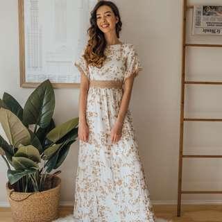 Zara - White & Gold Maxi Dress ✧ Tara Milk Tea
