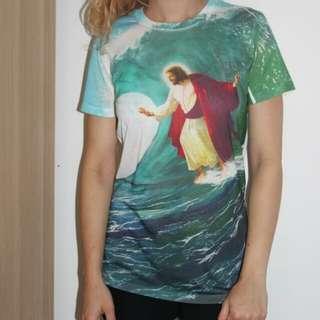 Funny Surfing Jesus Tee