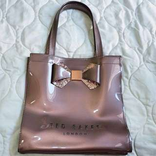 REPRICED‼️Small Glitter Bow Icon Tote Bag in Rose Gold