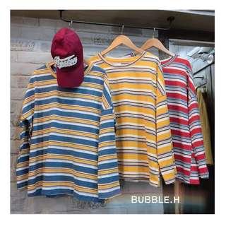 9成新✨ 黃色條紋直筒袖上衣