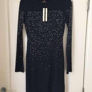 Topshop Navy Long Sleeve Diamanté Dress