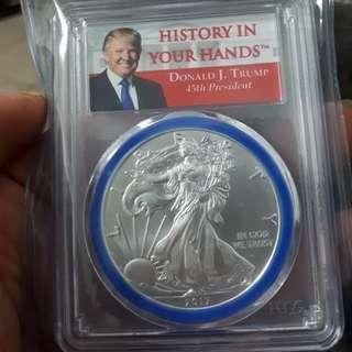2017一美元銀幣MS69 川普紀念盒