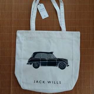 全新英國 Jack Will's 悠閒學生 白色帆布袋