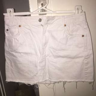 Topshop MOTO White denim mini skirt