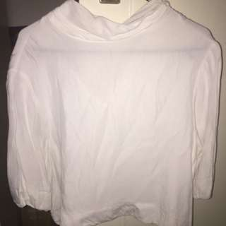 Bardot silky white top with high neck