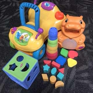 Good deal of Playskool learning toys & ride on walker set