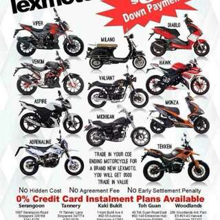 Lexmoto Motorcycle: $0 downpayment