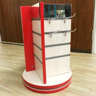 Rotating slot wall retail display inclusive of slot wall hooks for jewellery display