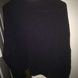 Sportsgirl knit navy high neck sleeve jumper