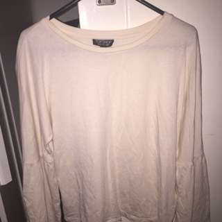 Topshop Women's light nude long flare sleeve top