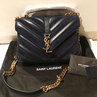全新 YSL Saint Laurent College Bag in blue - medium size (Original price $19500)