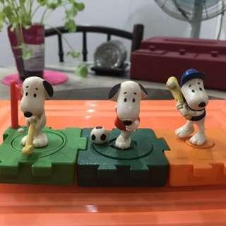 3 Vintage McDonald's Snoopy Figurines