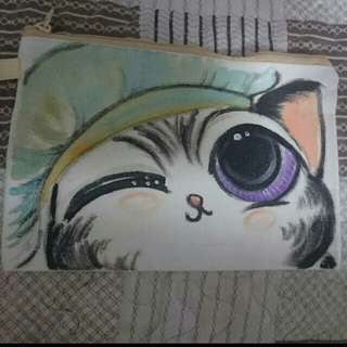 Hand-painted Kitty Pouch