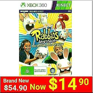 [Brand New] KINECT XBOX360  RABBIDS INVASION: THE INTERACTIVE TV SHOW. (Up to 2 player game)  Usual Price: $59.90  Special: $ 14.90 +  Free Mail Postage (Brand New In Box &  Sealed). or whatsapp 85992490 To Pick Up from Any Mrt Stn In Town Only