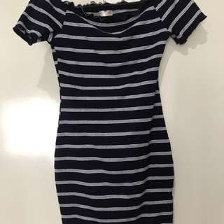 Navy stripped off the shoulder dress