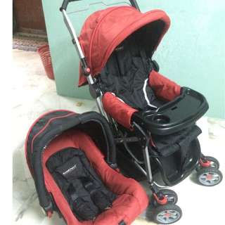 Sweet Heart Paris ST838 Travel System Stroller (Red and Black) with Reversible Handlebar