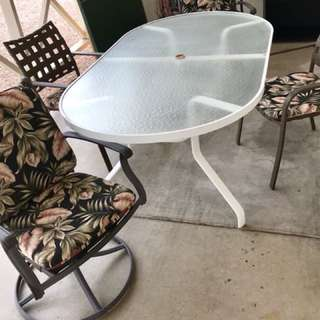 Oversized table patio set