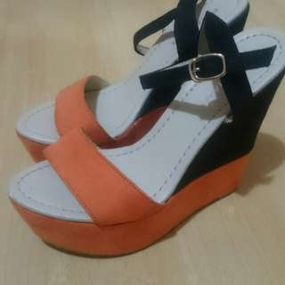 Orange & black wedge shoes