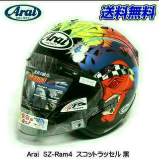 Size M SCOTT RUSSELL GLOSS BLACK Arai Ram4 R4 Design BNIB 57 - 58cm