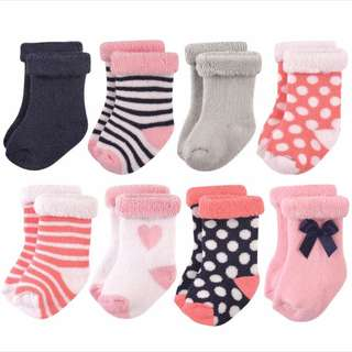 Hudson Baby Terry Cotton Rolled Cuff Crew Socks, 8 Pack.