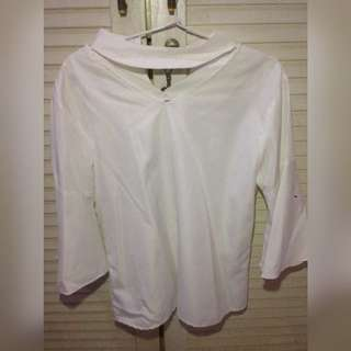 Halter tee white cute (NEW-FREE ONGKIR)