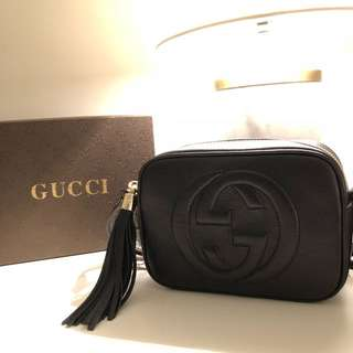 Gucci- Soho Disco textured-leather shoulder bag