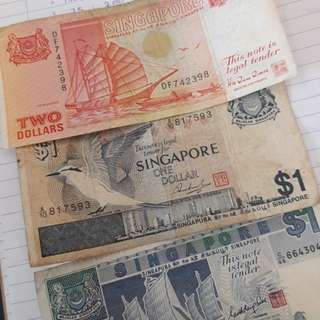 Antique currency $1 & $2SGD