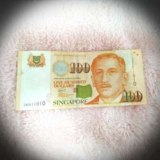 SG Dollar 100 Notes (1AC011010)