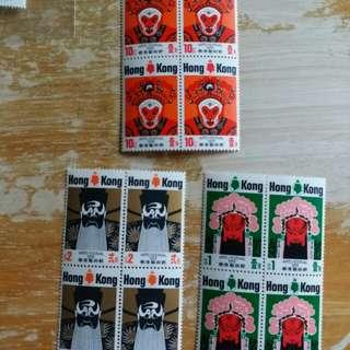 香港郵票1974年香港藝術節一套三全四方連新票