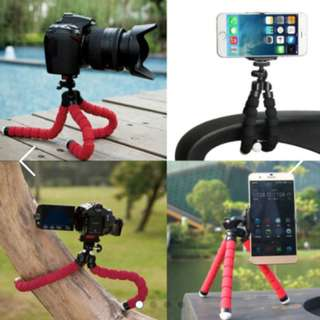 Universal Adjustable Octopus Tripod + Phone Holder for iPhone Samsung Sony Camera
