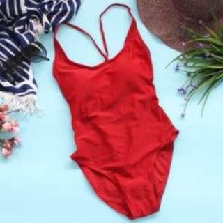 Pauleen String Design Plain One Piece Swimsuit