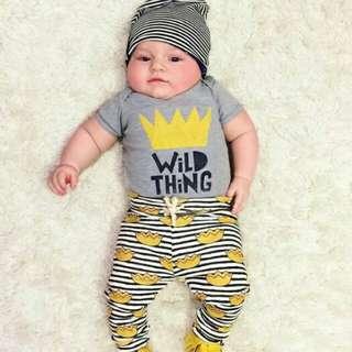 Newborn Baby Boy Girl Short Sleeves T-shirt+Pants 2pcs Set