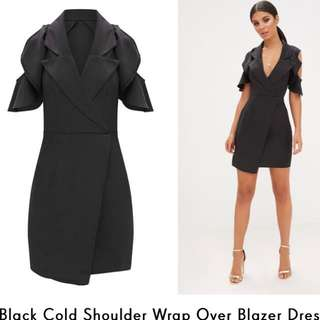 Cold shoulder blazer dress